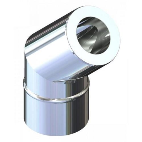 Відвід 45° двостінний для димоходу 200/260 н/оц 0,8 мм