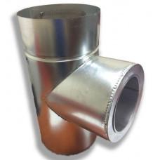 Трійник 87° двостінний для димоходу 150/220 н/оц 0,8 мм